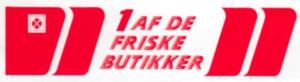 """""""1 af de friske butikker"""" logo"""